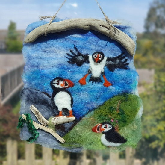 Puffin Landing Felt Picture