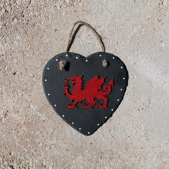 Large Welsh Dragon Slate Heart Hanger