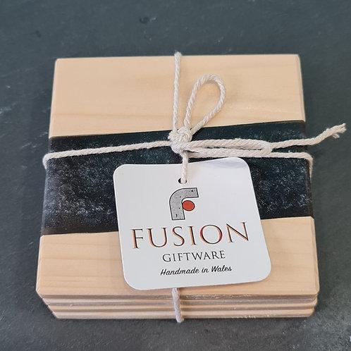 Wood & Black Resin Coasters
