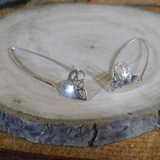 Celtic Knot Heart Drop Earrings