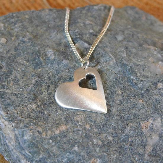 Matt Finish Heart Pendant Necklace