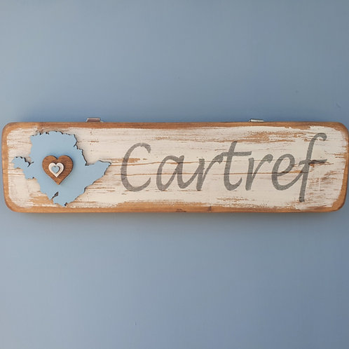 Wooden Anglesey Cartref Sign