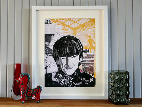 Limited Edition George Harrison Framed Paper Collage Print
