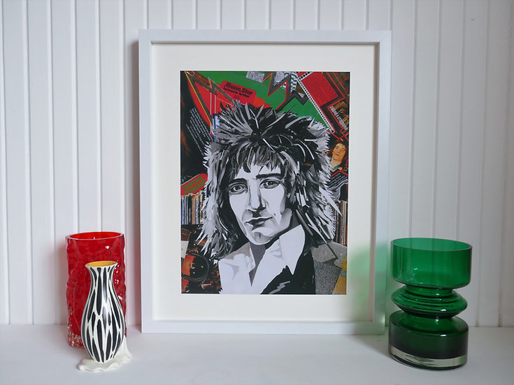 Limited Edition Rod Stewart Framed Paper Collage Print