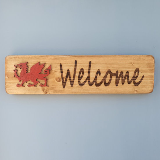 Wooden Welsh Dragon Welcome Sign