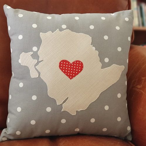 Grey Anglesey Cushion With Red Heart