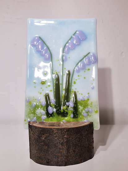 Fused Glass Purple Blue Bells
