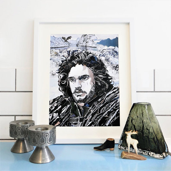 Limited Edition Jon Snow Paper Collage Framed Print