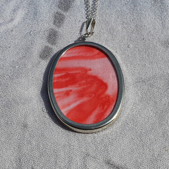 Red Hand-painted Silk Pendant