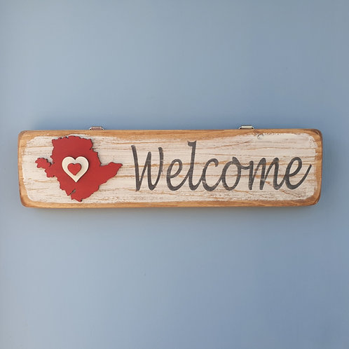 Wooden Anglesey Welcome Sign