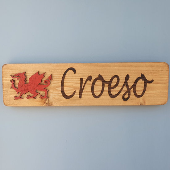Wooden Welsh Dragon Croeso Sign