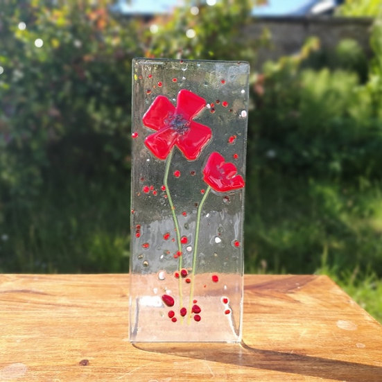Poppy Fused Glass Stand