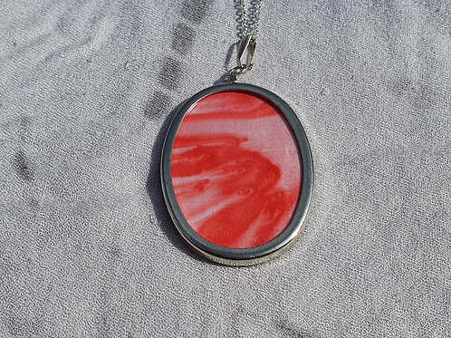 Small red silk necklace