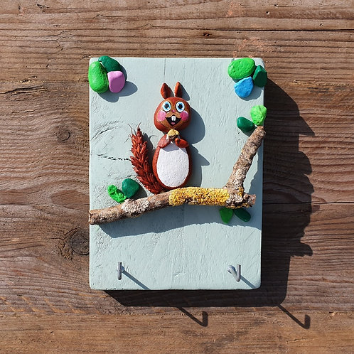 Squirrel Pebble Art Key Rack