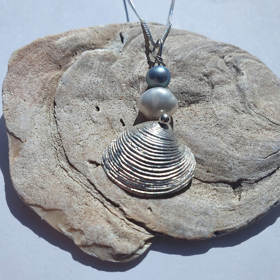 Silver Clam Shell Necklace