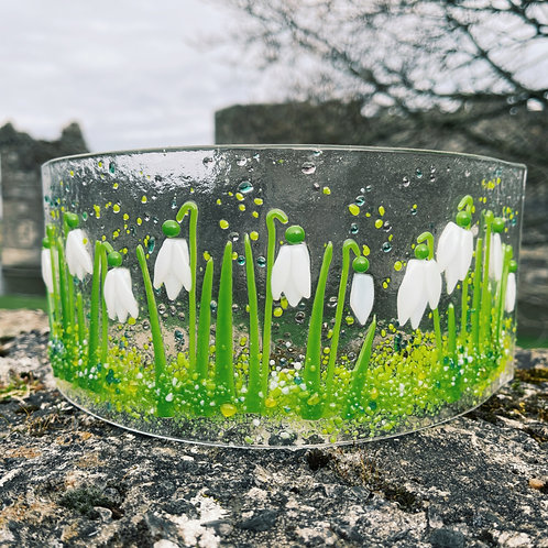 Snowdrops Fused Glass Curve