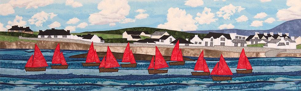 Sails at Trearddur Bay Mounted Print