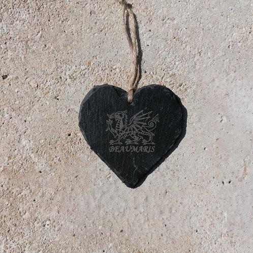 Small Beaumaris Dragon Slate Heart Hanger