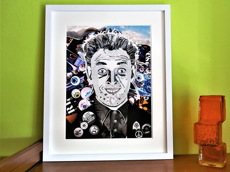 Limited Edition Rik Mayall Paper Collage Framed Print
