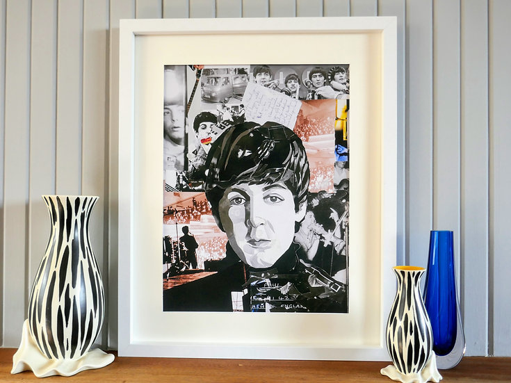 Limited Edition Paul McCartney Framed Paper Collage Print