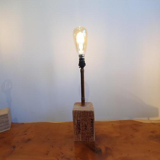 Pallet Block with Copper Piping Lamp