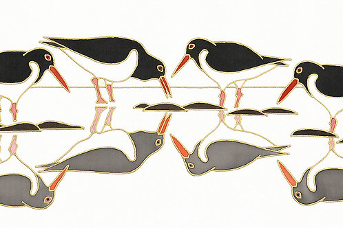 Oystercatchers on Reflection Mounted Print