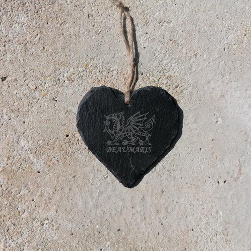 Medium Beaumaris Dragon Slate Heart Hanger
