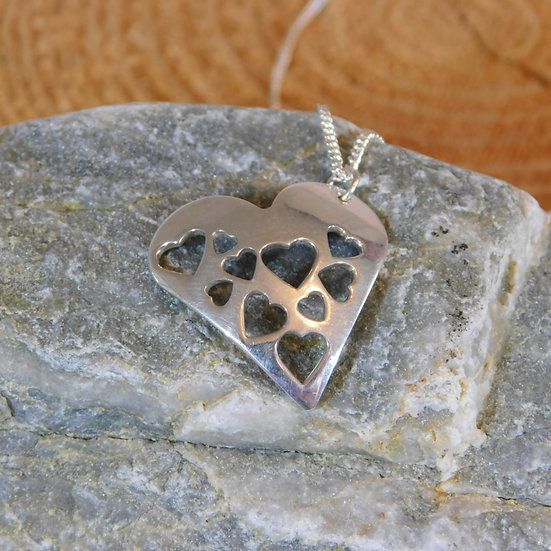 Hearts Stamped Heart Necklace
