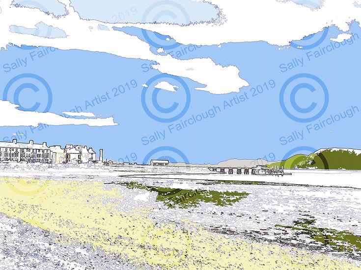 Beaumaris Pier Mounted Digital Print