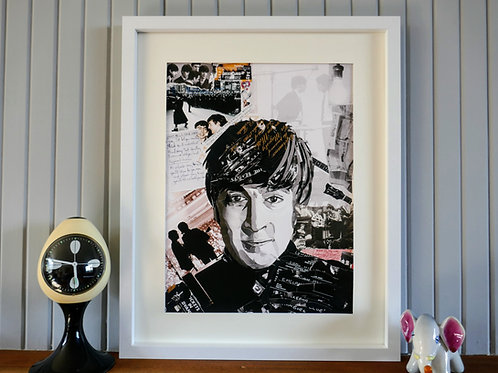 Limited Edition John Lennon Paper Collage Framed Print