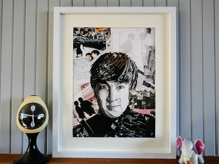 Limited Edition John Lennon Paper Collage Framed Print