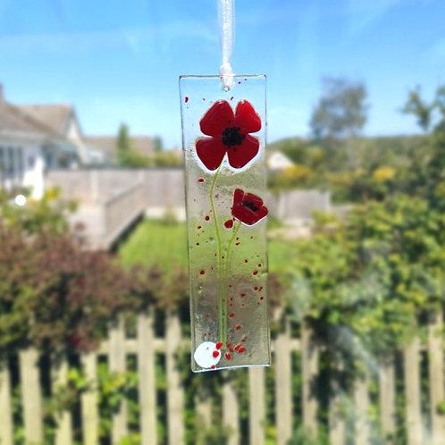 Poppy Fused Glass Light Catcher