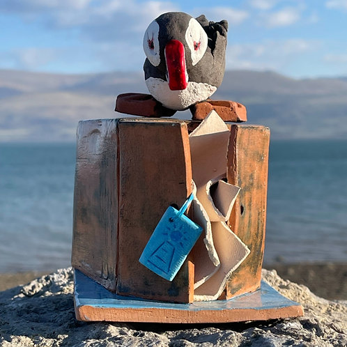 Penmon Puffin on a Present
