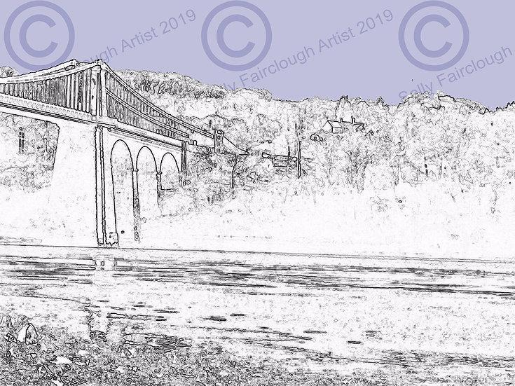 Menai Bridge Mounted Digital Print