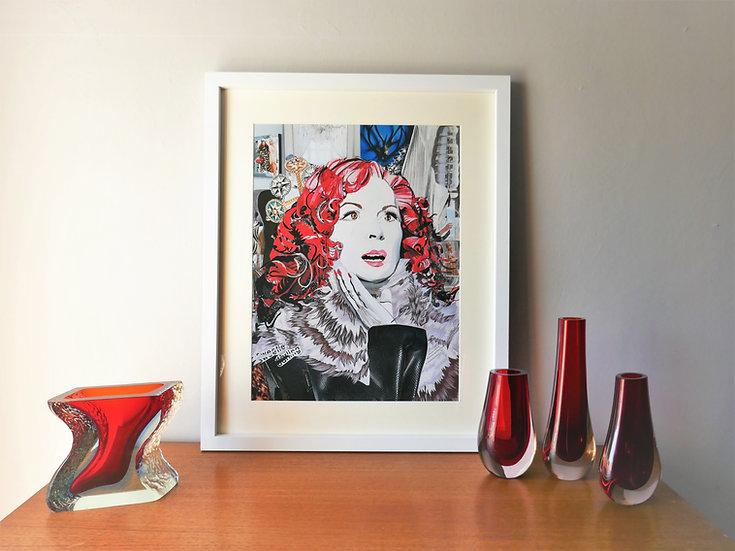 Limited Edition Jennifer Saunders, Edina Monsoon Paper Collage Framed Print
