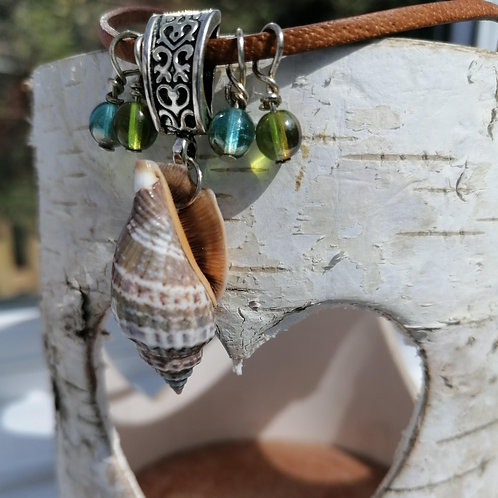 Sea Snail Shell and Beads, Corded Necklace