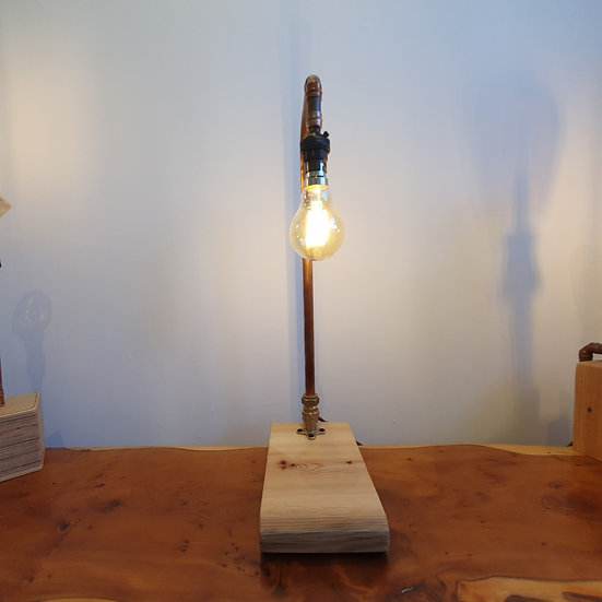 Chapel Pew and Copper Piping Lamp