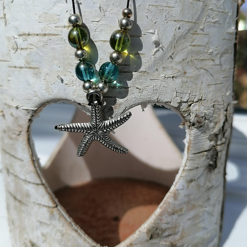 Starfish Charm and Bead Corded Necklace
