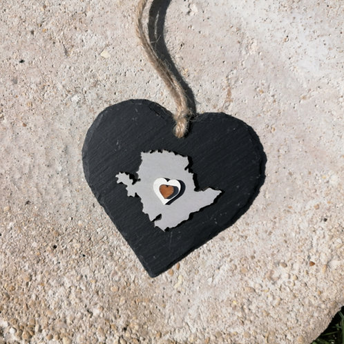 Medium Anglesey Slate Heart Hanger