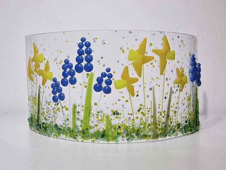 Fused Glass Daffodils & Grape Hyacinth Curve