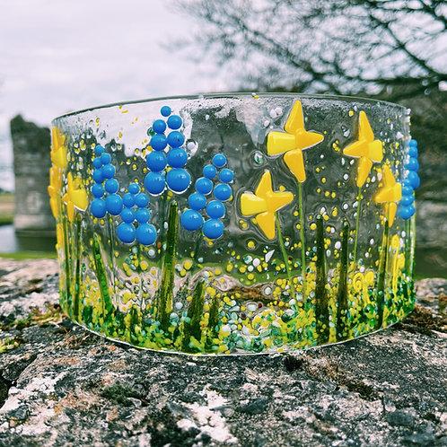 Fused Glass Welsh Daffodil & Grape Hyacinth Curve