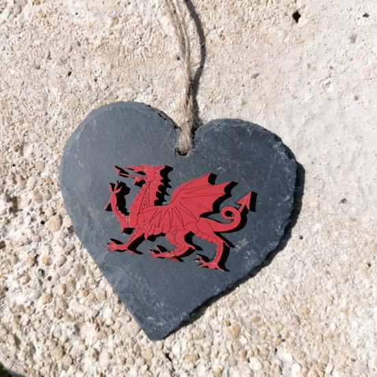 Medium Welsh Dragon Slate Heart Hanger