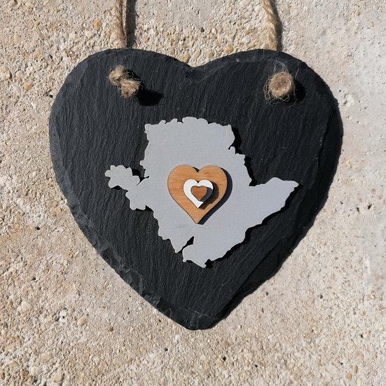 Large Anglesey Slate Heart Hanger