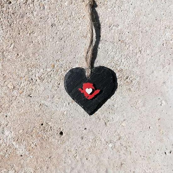 Small Anglesey Slate Heart Hanger