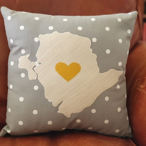 Grey Anglesey Cushion With Mustard Yellow Heart