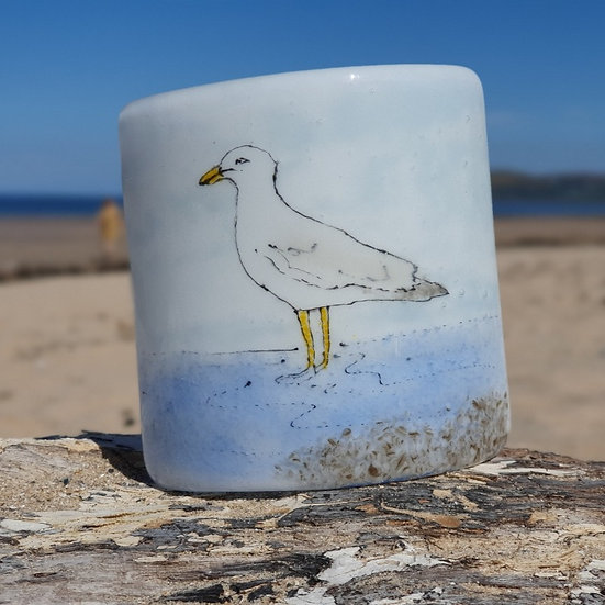 Seagull Fused Glass Curve