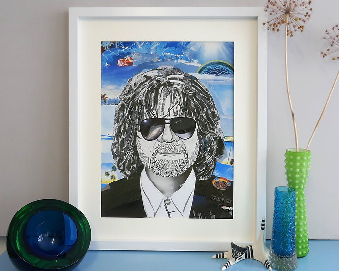 Limited Edition Jeff Lynne Paper Collage Framed Print