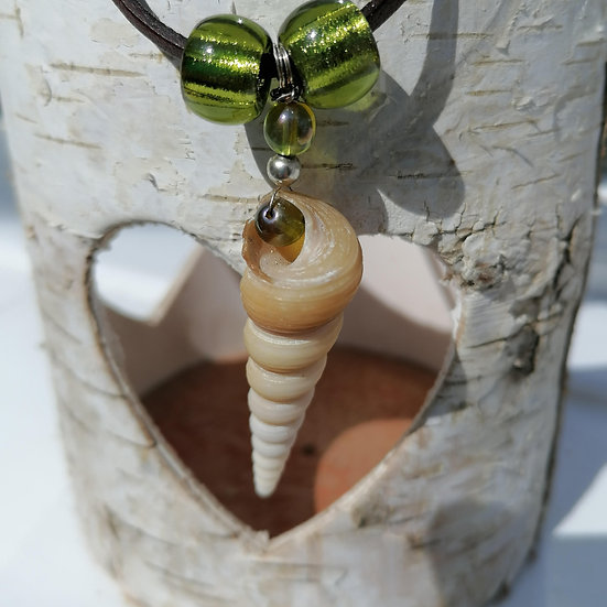 Tall Shell and Beads, Corded Necklace