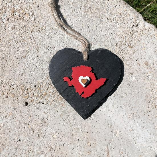Medium Anglesey Slate Heart Hanger