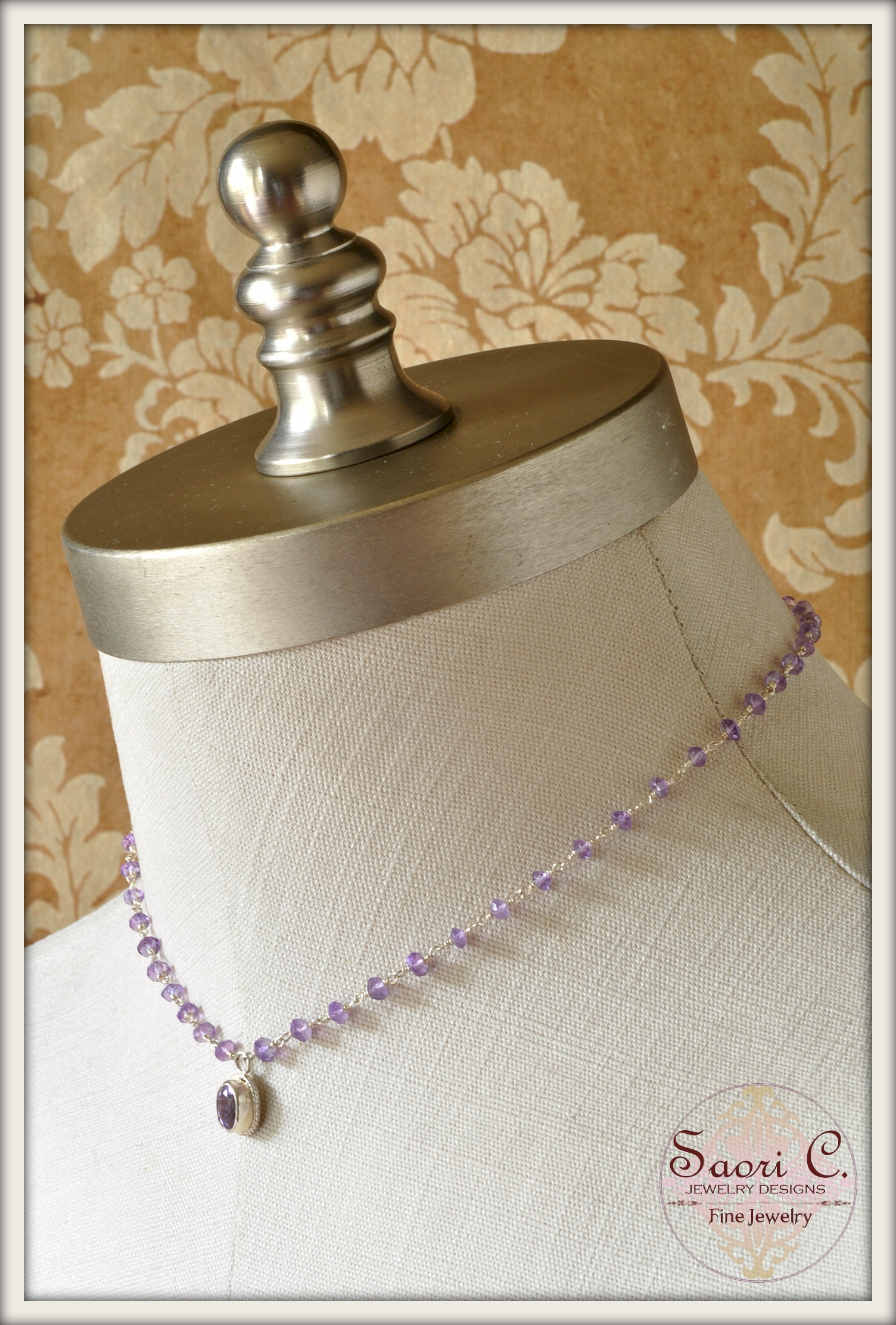 Lucky Charm Faceted Amethyst Necklace_model_side